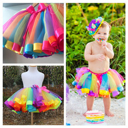Wholesale Toddlers Rainbow Dress - Girl Birthday Rainbow Tutu Skirt Baby Girls Toddler Party Outfit Skirt girls tulle skirt baby tutu Dress tutu dress 10PCS Free Shipping