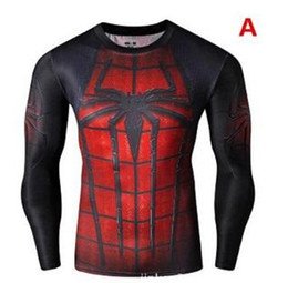 Wholesale Green Iron Man - Hot 3D T Shirts Captain Amercian Tight Gym men tees Fitness Super man Bodybuilding shirts Superhero Hulk Iron man shirts