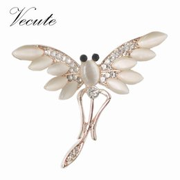 Wholesale Luxury Engagement Dresses - Decorative Brooch Garment Dress Accessories Wedding Bridal Luxury Rhinestone Simulated Opal Dragonfly Brooch Pin Animal brooches Wholesale