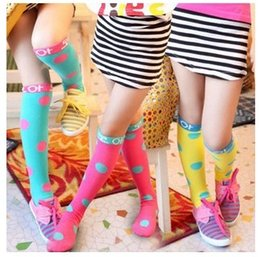 Wholesale Pair Cosplay - Top Selling 20 Pairs Princess Girls Cartoon Korean Socks Big Polka Dots Cotton Sock Film Cosplay Party Hosiery Multicolor Kids Socks KB429