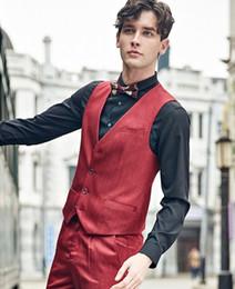 Wholesale Morden Men - Wholesale-New morden fashion Retro men clothing suit vest men wedding vest mens formal waistcoat vest solid plus size