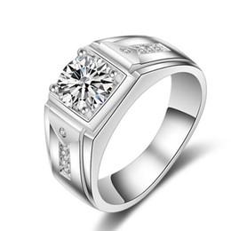Wholesale Men Diamond Ring Designs - LSL Jewelry Celebrity design Sz 7-12 Luxurious Jewellery Men Topaz Simulated diamond 10KT White Gold Filled Wedding Band Ring free shipping