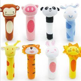 Wholesale Toys Bibi - 8Pcs Set 8 style BIBI Rattles Lovely Animal Hand Grasp Stick Plush Finger Puppets Babies Toy