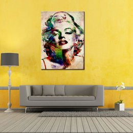 Wholesale One Piece Sexy Figure - 1 Piece Sexy Marilyn Monroe Painting Pictures Abstract Wall Art Prints on Canvas Picture for Living Room Home Decoration Unframed