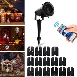 remote control patterns Promo Codes - Christmas LED Projector Light with 15 Patterns Lens RF Remote Control Waterproof Rotating Landscape Spot Light for Halloween Party Garden