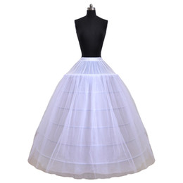 Wholesale Petticoat Free Shipping - Free Shipping Stock White 6Hoops Petticoat Hoopless for Bridal Ball Gowns A-Line Wedding Dresses Petticoats Bridal Accessories