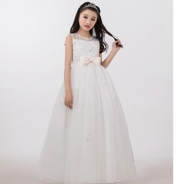 Wholesale Gorgeous Pageant Dresses Junior - Lace Flower Girl Dresses White Junior Flower Girls Dresses For Girls Weddings Communion Gorgeous and lovely Pageant Gowns