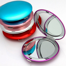 Wholesale Mini Mirror Compacts - Mini Foldable Aluminum Alloy Cosmetic Makeup Mirror Compact Pocket Mirrors for Travel for eyebrow tweezing