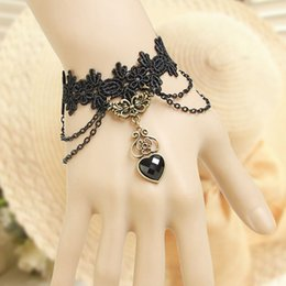Wholesale Love Lace Dress - Retro Lace Heart Chain Bracelets Ring Sets Prom Party Hand Chain Lolita Fancy Dress Hand Decor Charm Bracelets