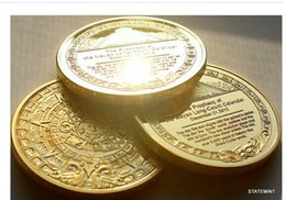 Wholesale 24k Gold Plated Coins - 1OZ MAYAN PROPHECY 24K .999 BULLION GOLD PLATED COIN free shipping 2pcs lot