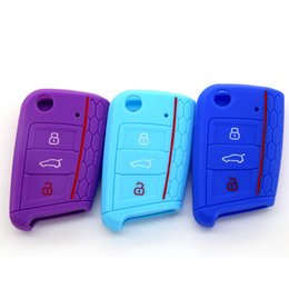 Wholesale Silicone Car Key Cover Vw - For Volkswagen VW Golf 7 mk7 Skoda Octavia A7 Silicone Key Portect Case Car Accessories Bag Key Cover car-styling