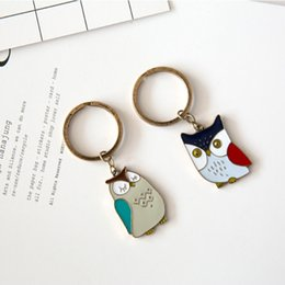 Wholesale Gold Animal Jewelry Wholesale - Color Owls Keys Rings Unisex New design Vintage animals alloy Keys rings antique gold plated Fashion Jewelry for love gifts