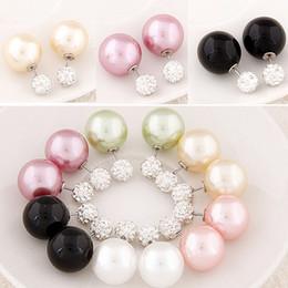 Wholesale Big Stud Earrings For Women - Double Side Big Ball Stud Earrings Shining Pearl Earings with small crystal Shambhala Stud gift For Women girls