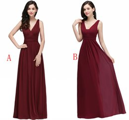 Wholesale Wedding Gown Chiffon Backless Flowing - Under $35 Chiffon Bridesmaid Dresses Cheap Burgundy Pleats A Line Bridesmaid Gowns Flow Wedding Guest Dresses Robe Real Photo Stock