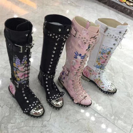 Wholesale Creeper Shoes Printed - Spiked Women Knee High Boots Flower Print Leather Motorcycle Boots Women Autumn Winter Metal Toe Knight Boots Buckle Hobnail Creepers Shoes