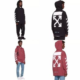 Wholesale Camp Hoodie - Lovers Men's Arrow Hoodies OFF-WHITE Sweatshirts Causal Hip Hop Cool Brand Designer roses 2Color S-XL Fleece Flowers Cotton Fashion Shirt