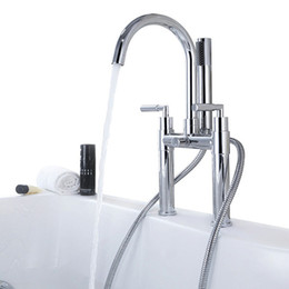 Wholesale Bath Shower Mixer Taps - Free Shipping Brass two handle Bathtub Faucet, Chrome finish Bathtub hot and cold water Mixer tap with Hand Shower and Hose BF950