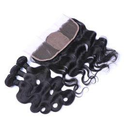Wholesale Pure Silk Stockings - Stock Virgin Indian Body Wave 3Bundles With Silk Base Lace Frontal 13x4 Body Wave Human Hair Weaves With Silk Frontal Closure 4Pcs Lot