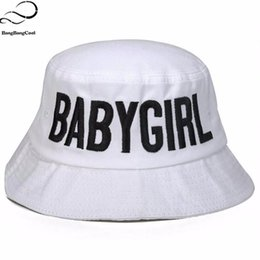 Wholesale Babygirl Cap - Wholesale-BABYGIRL White Black Bucket Hats for Women Men Bob Hip Hop Cap Panama Chapeu Pescador Bone Touca Fisherman Hiking Bonnie hats