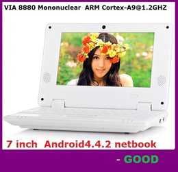Wholesale Netbook Dhl - 7 inch Mini Netbook VIA 8880 512MB RAM 4GB ROM Android 4.4.2 1GB 8GB Notebook WiFi HDMI Webcam Laptop DHL FREE SHIPPING