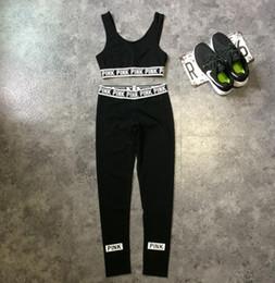 Wholesale Wholesale Sweat Vest - Pink Tracksuits Pink Crop Tops Pants Pink Letter Sports Suit Women Sweat Suit Camis Vest Trousers Fashion Sportswear KKA3176
