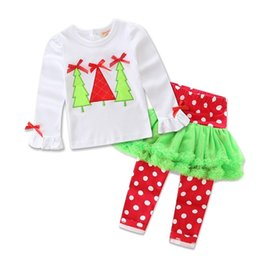Wholesale Champagne Christmas Tree - 2016 Xmas Girls Baby Childrens Clothing Sets Christmas Tree Cotton Long Sleeve Tops Pants 2 Set Santa Girl Kids New Year Clothes Outfits