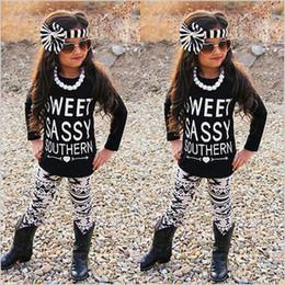 Trajes de primavera para niñas pequeñas online-Primavera Otoño Carta Impreso Conjunto de Ropa de Niñas Moda Negro Boutique Boutique Ropa Geometría Impreso Niños Traje de Niño