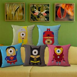 Wholesale Wholesale Men Linen Sets - Minions Avengers superman Iron man batman pillow Case Cushion cover Pillowcase Cover Square linen cotton soft pillowslip beddng sets 240553