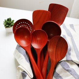 Wholesale Red Kitchen Tools Set - Wholesale- New Red Rosewood Cookware Set Long Hand Wooden Turner Rice Scoop Soup Ladle Colander Kitchen Tools Wood Tableware Japan Style