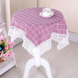 Wholesale Lace Table Cloth Wholesale - 50pcs New ZAKKA Japan Korea Style Cotton Linen Table Cloth Elegant Cover Four Colors Lace Tablecloth Home Textile ZA0916