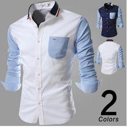2020 diseños de camisas de rayas para hombre Camisa a rayas de los hombres de la moda 2018 patchwork contraste diseño del bloque de color de punto abajo cuello manga larga para hombre camisas casuales envío gratis diseños de camisas de rayas para hombre baratos