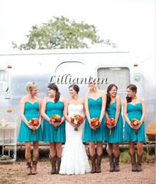 Wholesale Green Hunter Boot - Chiffon Aqua Blue Country Wedding Bridesmaid Dresses Turquoise Short Country Bridesmaid Dress Knee Length Party Dress Custom Made Boots Girl