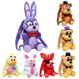 Wholesale Freddy Plush - Plush bag 33cm   47CM Five Nights At Freddy's school bag FNAF Freddy Fazbear Bonnie Mangle foxy Nightmare Fredbear plush backpack kids toys