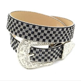 Wholesale Wholesale Apparel For Women - Western Rhinestone Belts for Cowgirl PU Fashion Standard Belts for Dress and Jeans Woman Apparel Accessory Two Colors CH300586