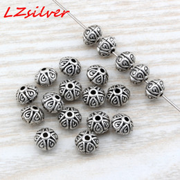 Mic rondas de prata on-line-MIC 200 Pcs Antiqued Prata liga de zinco Rodada Spacer Contas 7mm DIY jóias D4