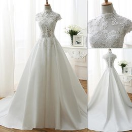 Wholesale Top Designer Gowns - Simple Wedding Dresses Designer Cheap Sheer High Neck Cap Sleeved Lace Top Bridal Gowns Satin Long Train White Gothic Dress For Brides
