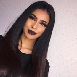 Wholesale Real Hairstyles - Peruvian 100% Real Human Hair Silky Straight Full Lace Wig   Lace Front Wig 130%-180% Density in stock