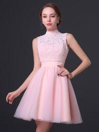 2016 новый высоким горлом куртка формальные платья невесты кружева аппликация пояс невесты юбка мода мини невесты платье выпускного вечера плюс размер от