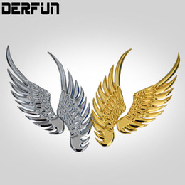 Wholesale Car Wing Doors - 1 Pair Car Logo Plating Metal Stickers angel Wings Auto Stickers Car Motorcycle Accessories Gold silver