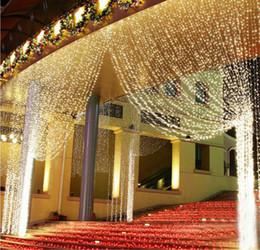 Argentina 3Mx3M carámbano led cortina de luz de hadas 320bulb Navidad de Navidad boda jardín de su casa garland decoración lámpara 110V 220V Suministro