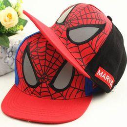 Wholesale Flat Hats Kids - Fashion Children Cartoon Kids Flat Hat Spiderman Baseball Caps Snapback Cap Adjustable Kid Hip Hop Cartoon Outdoor Leisure Students Hats