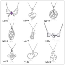 Wholesale Gourd Necklace Pendant - Women's gemstone sterling silver Pendant Necklace GTP20,gourd butterfly knot 925 silver Necklace(with chain) 10 pieces a lot mixed style