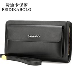 Wholesale Cell Phone Wallets Men - FEIDIKABOLO Famous Brand Leather Men Wallets Double Zipper Black Cover Coin Purse Men's Clutch Wallet Portomonee High Capacity