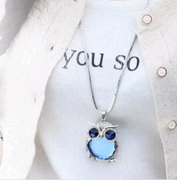 Wholesale charms for origami owl - 20pcs Wholesale New Crystal Owl sweater Chain Cheap silver Origami jewelry no Charms beads Pendant Necklace Fashion Jewelry for Women Party