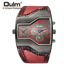 Wholesale Oulm Double - 6 Colors Super Cool Oulm Brand Men Quartz Watches Double Time Show Snake Band Casual Men Sports Watches Male Military Clock