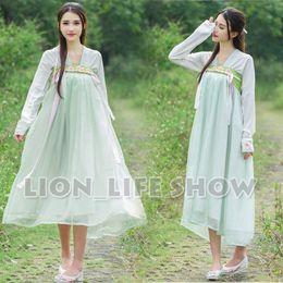 Wholesale Hanfu Women - Wholesale-summer Women Chinese Tang Dynasty Ruqun Hanfu Green Long Sleeve Chiffon Dress Costume