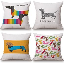 Wholesale dachshund pillow - Sausage Dog Dachshund LOVE HEART cushion covers Candy Color Watercolor Birds pillow covers Linen Cotton home Sofa decoration