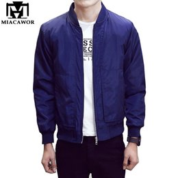 Wholesale Blue Baseball Jacket Coat - 2016 New Spring Men Bomber Jacket Fashion Men Coats Veste Homme Solid Baseball Jacket Casual Jaqueta Masculina Brand Clothing