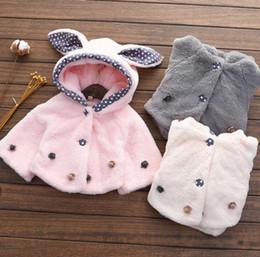 Wholesale Cute Rabbit Wearing Clothes - 2016 Korean girls wear winter clothes new cute rabbit ear clip cotton and cotton cloak lattice Z82075