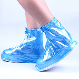Wholesale Reusable Covers - Women Girls Waterproof Shoes Cover Reusable Zippered Rainproof Shoes Covers High Elastic Fabric Thicken Sole Slip-resistant Free Shipping